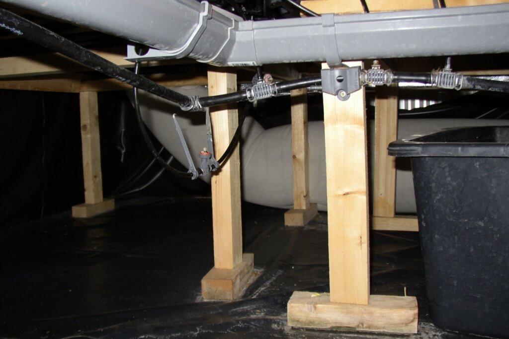 Mit dem Ultraschallluftbefeuchter klimatisierte Luft per Airsock verteilt in die Anlage blasen
