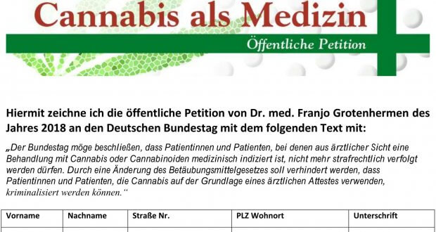 Cannabis-Petition 2018 an den Bundestag